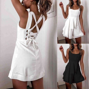 Musho Station:Sling Backless Cross Lace Up Bow Women Ruffle Dress,