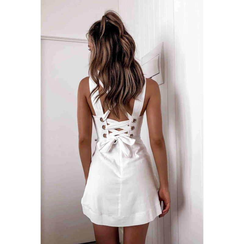 Musho Station:Sling Backless Cross Lace Up Bow Women Ruffle Dress,,Musho Station,Musho Station