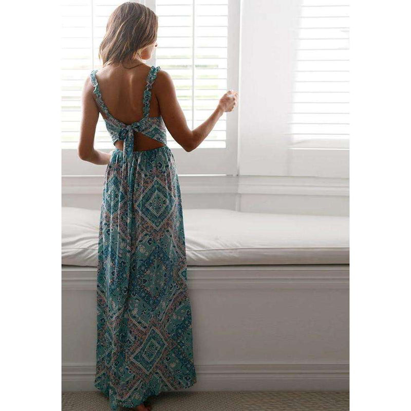 Musho Station:Spaghetti Strap Beach Bohemia V-neck Gown Floral Print Boho Hollow backless Long Maxi Dress,
