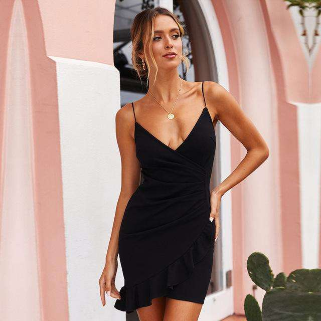 Musho Station:Spaghetti Straps Deep V Neck Backless Mini Dress,,Musho Station,Musho Station