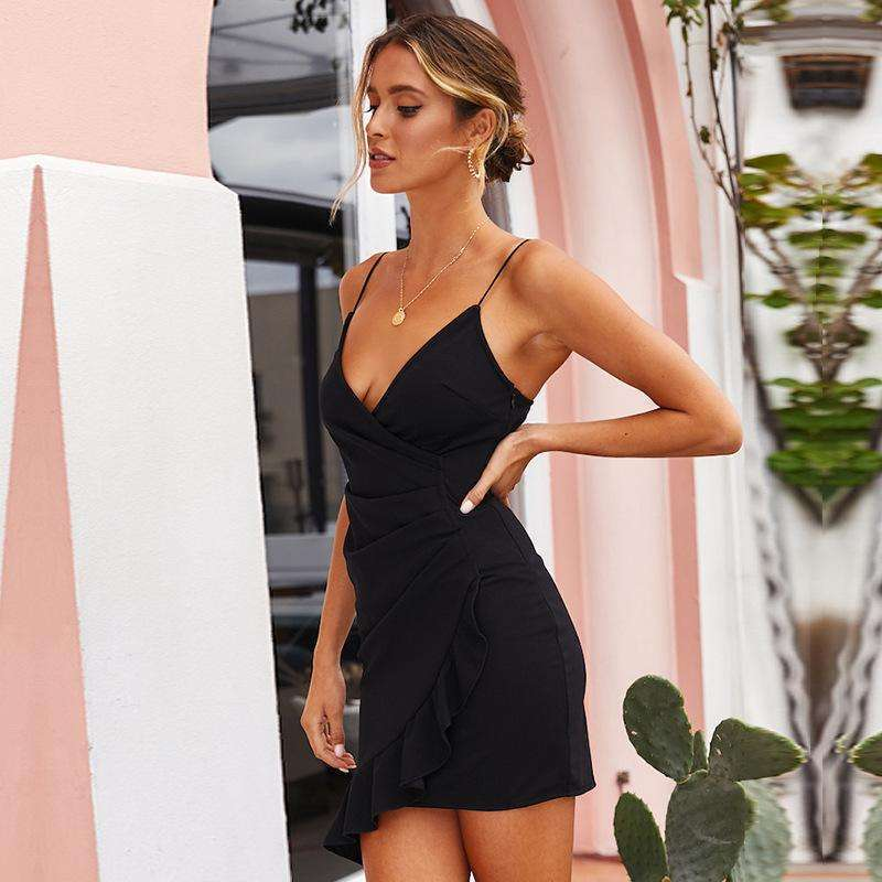 Musho Station:Spaghetti Straps Deep V Neck Backless Mini Dress,