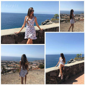 Musho Station:Stars Print Camis Dress Wrap Bodycon Rustic Casual Summer Style Boho Dots Dresses,