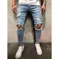 Musho Station:Streetwear Distressed ripped hip hop holes skinny Slim jeans,