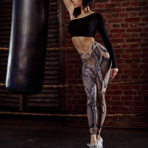 Musho Station:Stretch Elastic Snake Lin Mid Waist Fitness Legging,