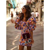 Musho Station:Stylish Chic Floral Print Loose sleeve Vintage Elegant Women Square Collar Mini Dress,