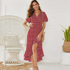 Musho Station:Summer Boho Style Floral Print Maxi Beach Dress,