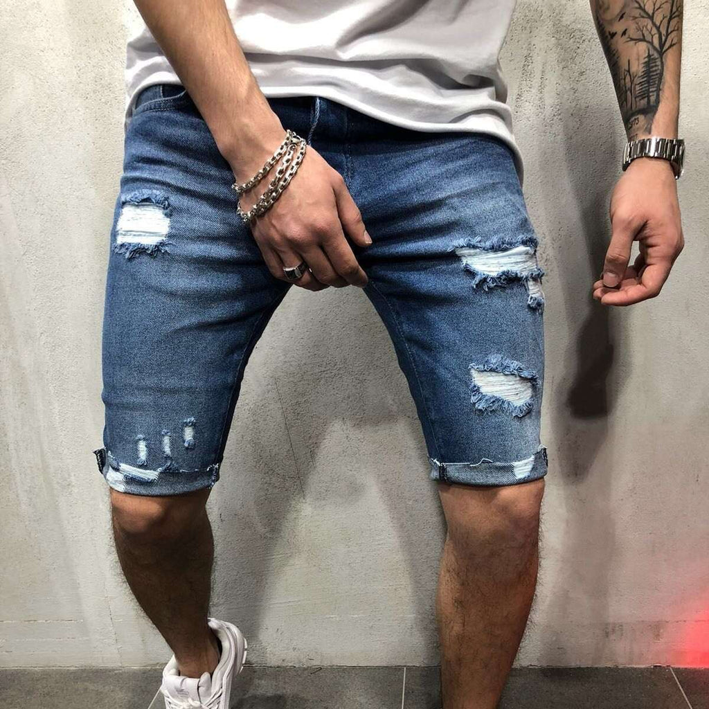 Musho Station:Summer Denim Shorts Men Cotton Solid Straight Short with hole Frayed knee length Jeans,