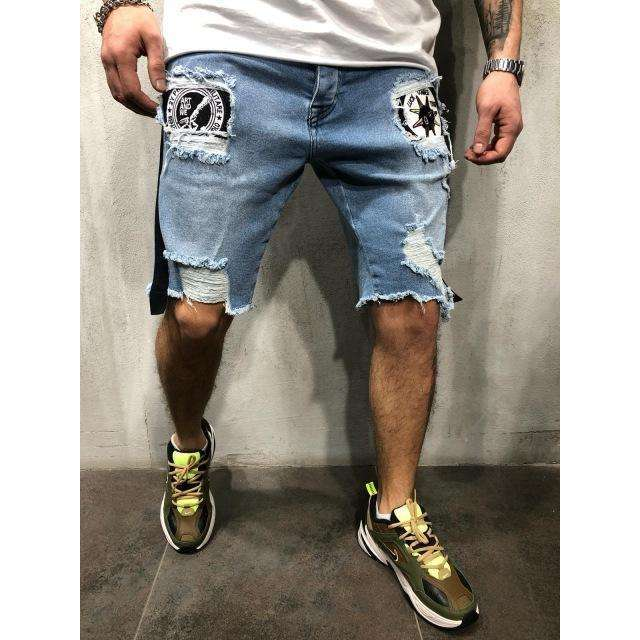 Musho Station:Summer Denim Shorts Men Cotton Solid Straight Short with hole Frayed knee length Jeans,,Musho Station,Musho Station