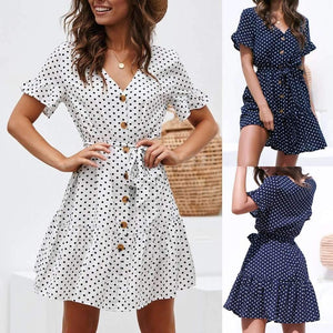 Musho Station:Summer Dot Printed Short Sleeve Dress,dresses