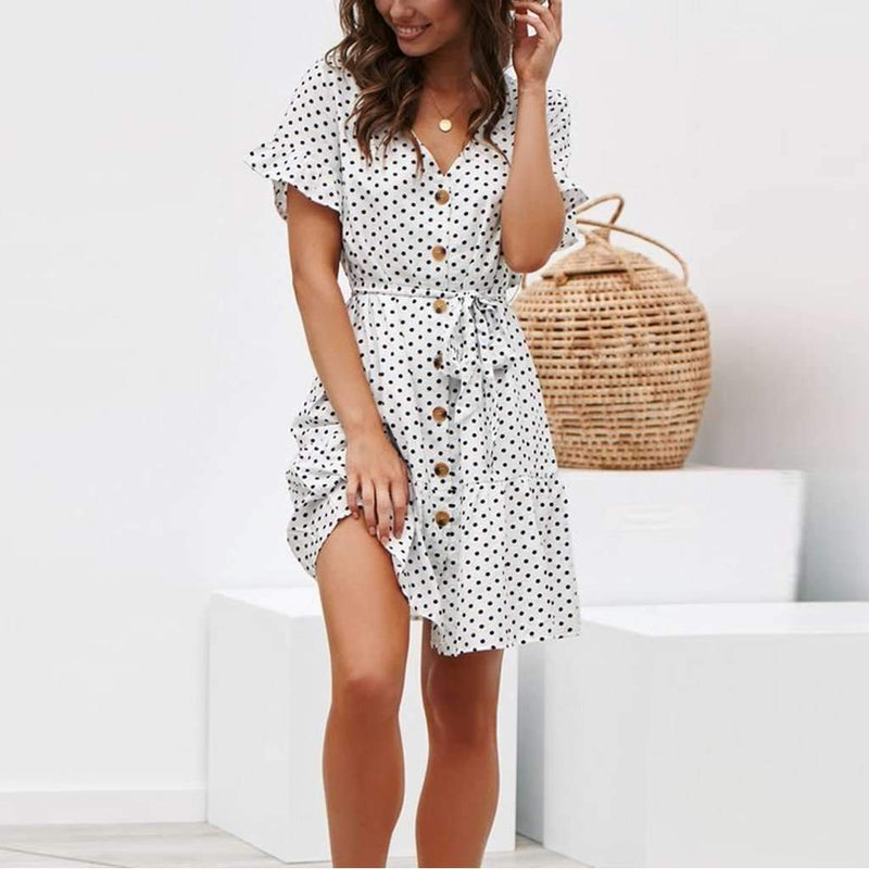 Musho Station:Summer Dot Printed Short Sleeve Dress,dresses,Musho Station,Musho Station