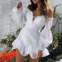 Musho Station:Summer Women Lace Off Shoulder Lantern Sleeve Dress,