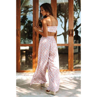 Musho Station:Summer Women Two Piece Set Top And Pants Bow Wrapped Chest and Loose Split Pants,