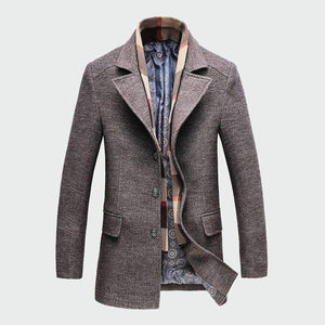 Musho Station:Thicken Slim Overcoat Jacket Casual Wool Trench Coat,