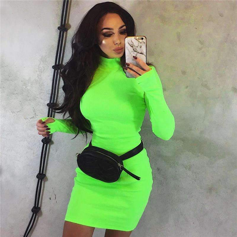 Musho Station:Turtleneck  Neon Body-con Long Sleeve Knitted Sweater Dress,
