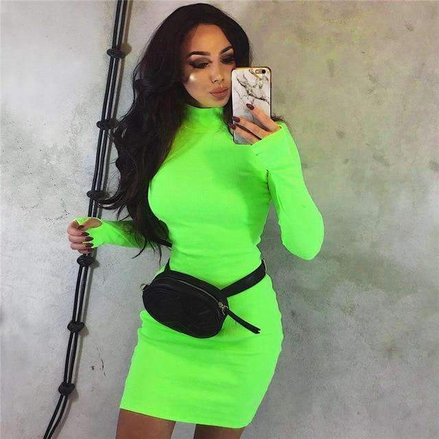 Musho Station:Turtleneck  Neon Body-con Long Sleeve Knitted Sweater Dress,,Musho Station,Musho Station