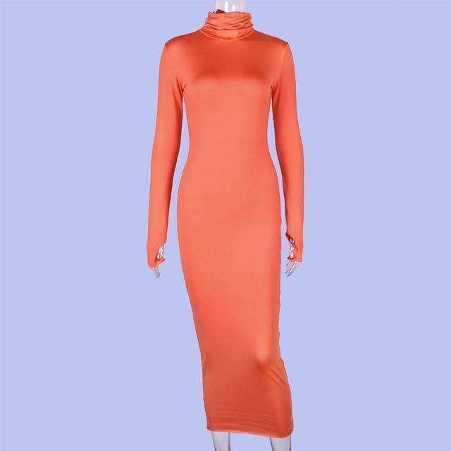 Musho Station:Turtleneck Neon Color Long Sleeve Maxi Dress,,Musho Station,Musho Station