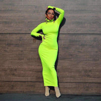 Musho Station:Turtleneck Neon Color Long Sleeve Maxi Dress,