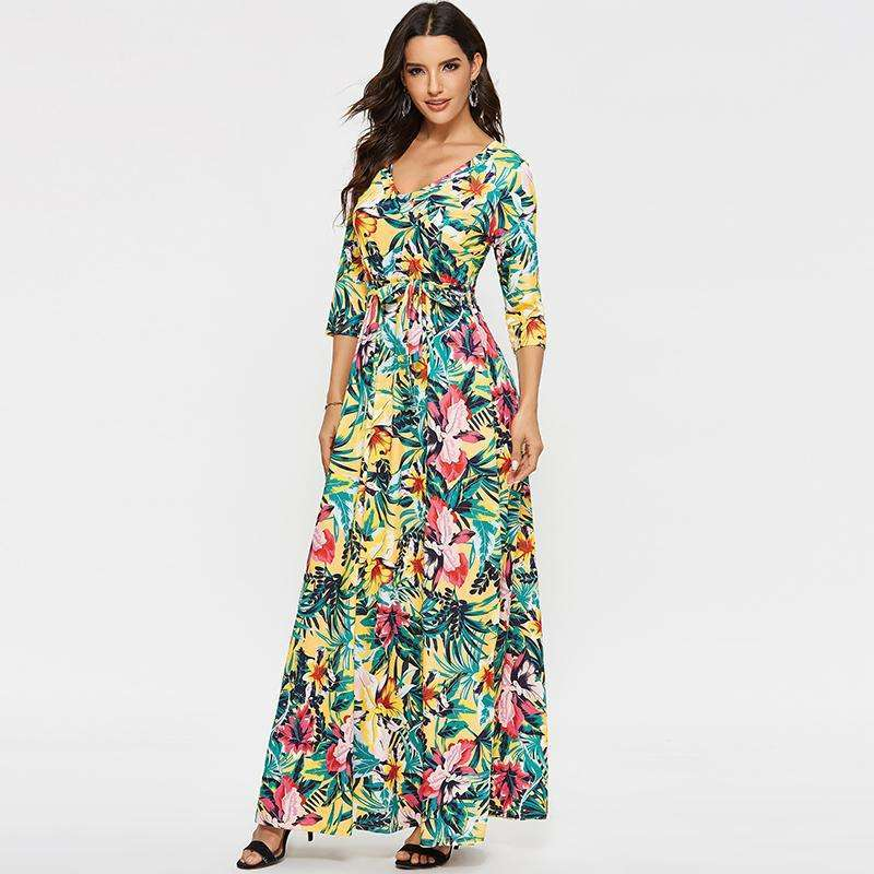 Musho Station:V Neck Long Vintage Floral Print Boho Maxi Dresses,