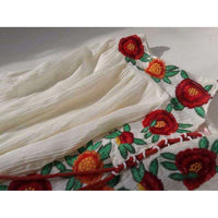 Musho Station:Vintage cotton floral embroidered white Summer spaghetti strap dress,