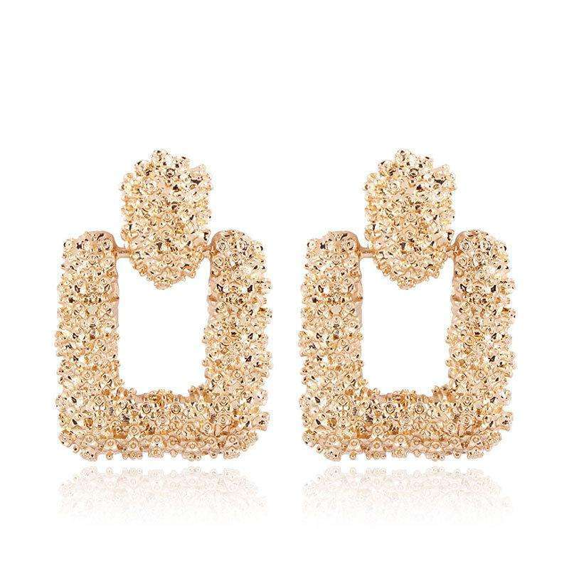 Musho Station:Vintage Earrings with gold color and texture metal drop,