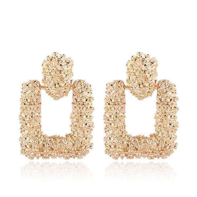 Musho Station:Vintage Earrings with gold color and texture metal drop,,Musho Station,Musho Station