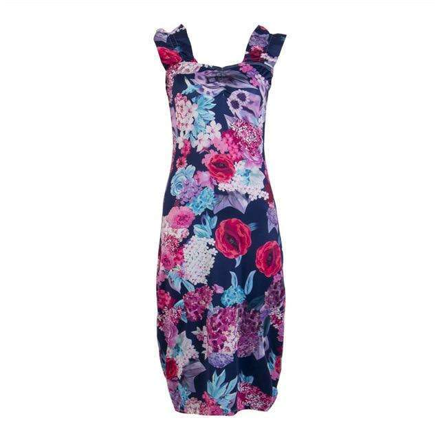 Musho Station:Vintage Holiday Off Shoulder Sleeveless Body-con Dress With Floral Print Party Cotton Mid-calf Dress,,Musho Station,Musho Station