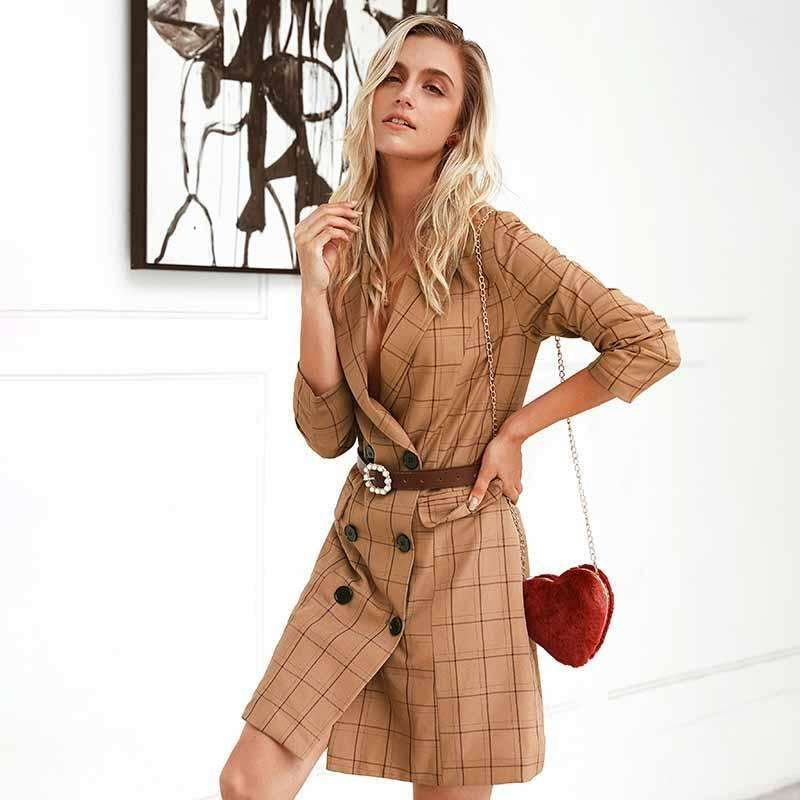Musho Station:Vintage Khaki Plaid Women Blazer Dress,