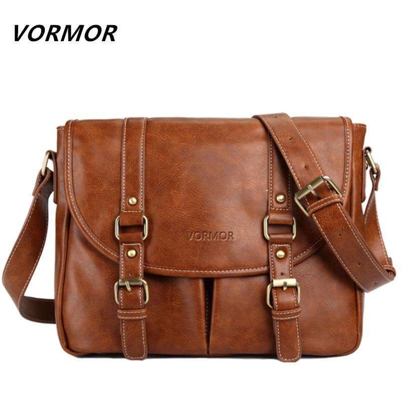 Musho Station:VORMOR Brand Leather Men Bag Casual Business Leather Mens Messenger Bag Fashion Men's Crossbody Bag,