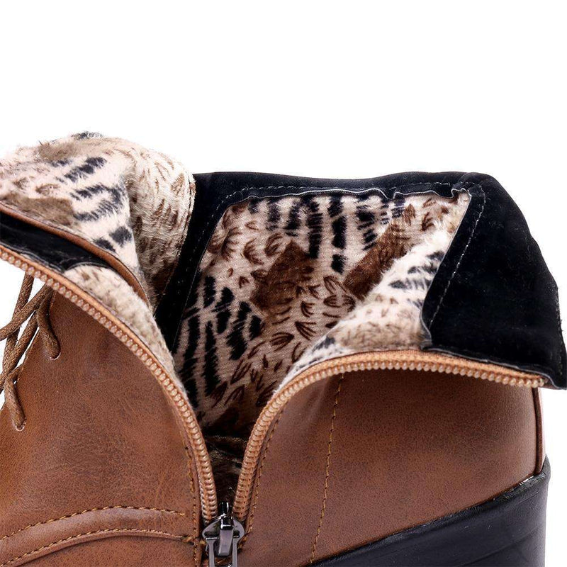 Musho Station:Warm Fur Boots lace-up High Chunky Heels,