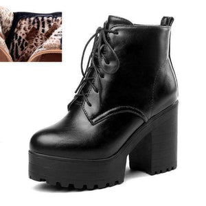 Musho Station:Warm Fur Boots lace-up High Chunky Heels,,Musho Station,Musho Station