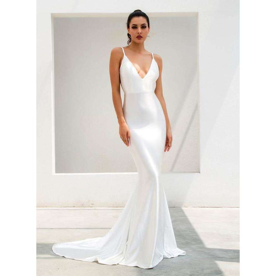 Musho Station:White Deep V-Neck Open Back Slim Flash Material Long Dress,