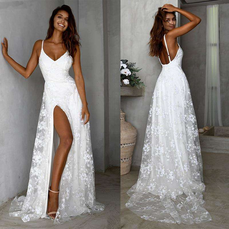 Musho Station:White lace women Spaghetti Strap side slit long evening dress,,Musho Station,Musho Station