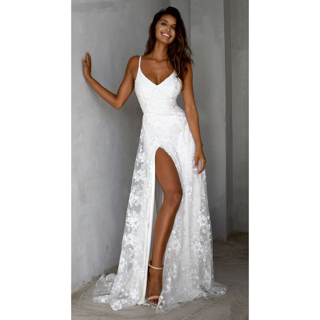 Musho Station:White lace women Spaghetti Strap side slit long evening dress,