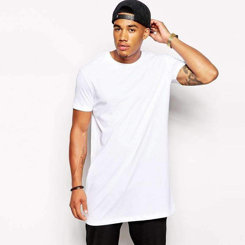 Musho Station:White long Hip hop Street-wear t-shirt,