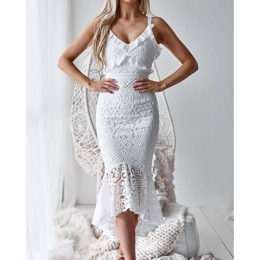 Musho Station:White Party Sleeveless Lace Crochet Hollow Out Slim Spaghetti Strap Bodycon Dress,,Musho Station,Musho Station