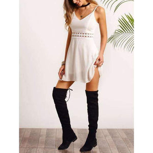 Musho Station:White Spaghetti Strap Lace Slim Dress,Women's Clothing