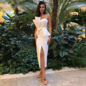 Musho Station:White Strapless Club Vestido Sleeveless Sashes Bodycon Midi Celebrity Evening Party Dress,