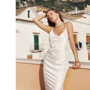Musho Station:Woman summer slip silk satin elegant dress,