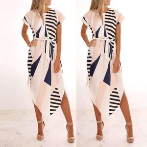 Musho Station:Women Casual Short Sleeve V Neck Printed Maxi Dress With Belt,dresses,Musho Station,Musho Station
