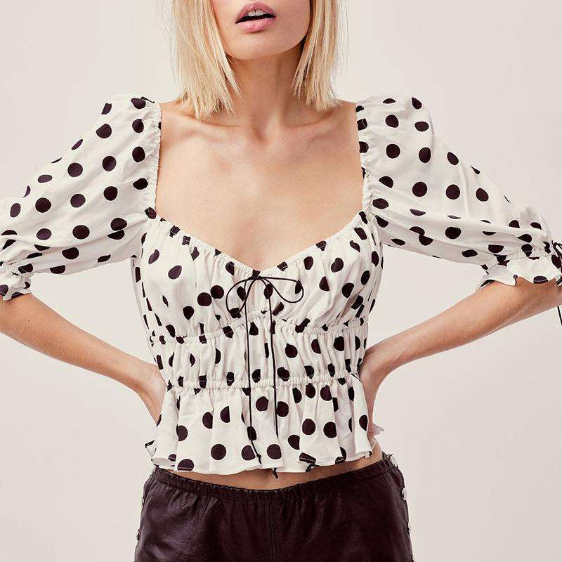 Musho Station:Women chiffon bandage smocking ruffle elegant crop top,
