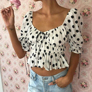 Musho Station:Women chiffon bandage smocking ruffle elegant crop top,,Musho Station,Musho Station