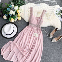 Musho Station:Women Lace Strap Strapless High Waist Slim Retro Casual Dress,