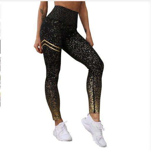 Musho Station:Women Leggings No Transparent Metallic Foil Print Leggings Exercise Fitness Patchwork Push Up Female Pants,,Musho Station,Musho Station