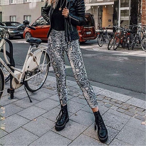 Musho Station:Women Snake Print Elastic Pants Waist Bandage Trousers,