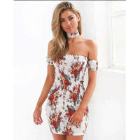 Musho Station:Women Summer Boho floral off shoulder min short sleeve strapless halter body-con pencil dress,,Musho Station,Musho Station