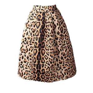 Musho Station:Women Vintage Satin Leopard Print Pleated Skirts High Waist A-Line,
