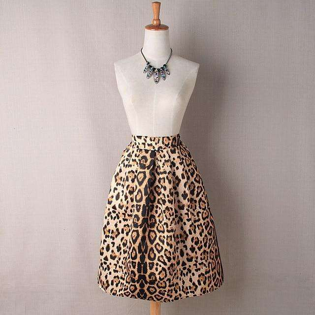 Musho Station:Women Vintage Satin Leopard Print Pleated Skirts High Waist A-Line,,Musho Station,Musho Station