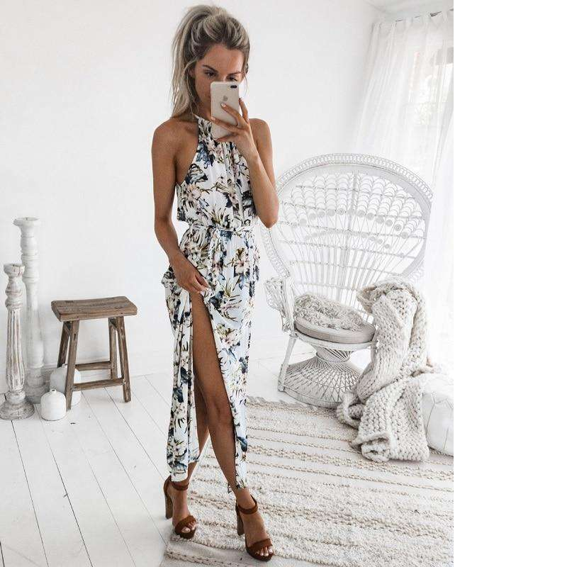 Musho Station:Women's Long Maxi Bohemia Sleeveless Floral Print Ethnic Summer Beach Split Stylish Asymmetrical Dress,