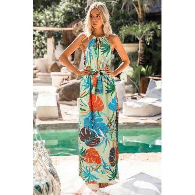 Musho Station:Women's Long Maxi Bohemia Sleeveless Floral Print Ethnic Summer Beach Split Stylish Asymmetrical Dress,,Musho Station,Musho Station