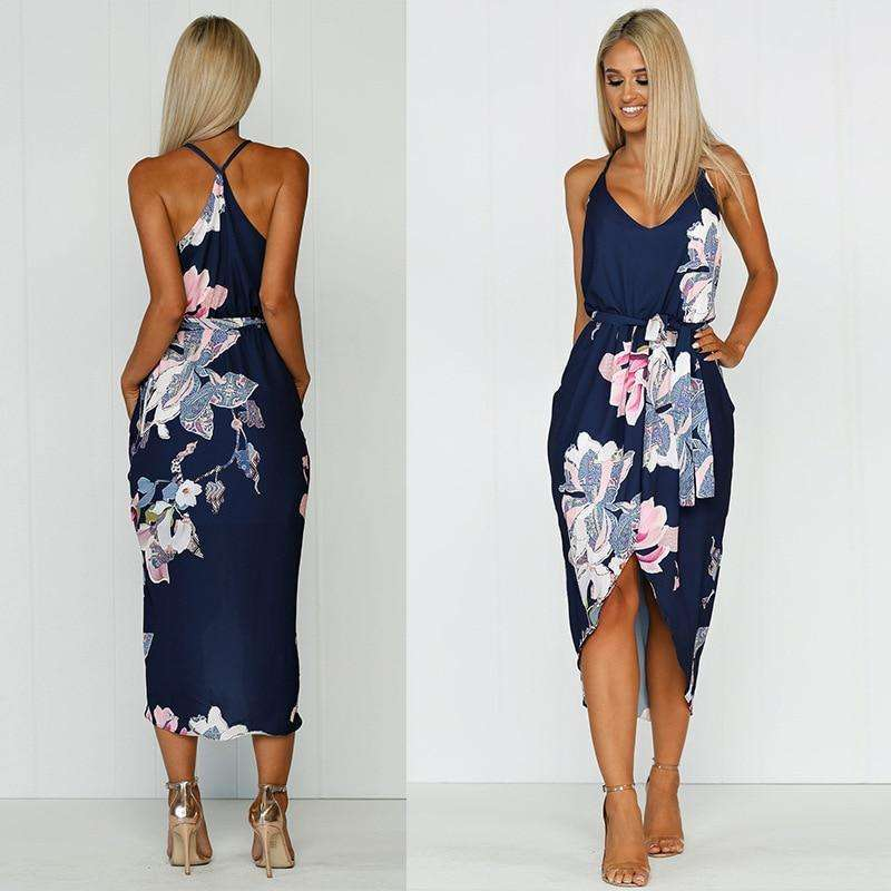 Musho Station:Women's Print Bohemian Chiffon Casual Dress V-Neck Backless Asymmetrical Party Dress,